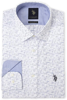 U.S. Polo Assn. White & Blue Bead Pattern Regular Fit Dress Shirt