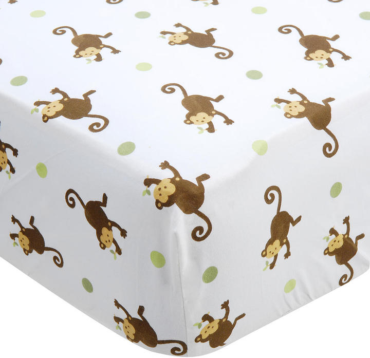 Kids Line Mod Pod Pop Monkey Fitted Crib Sheet