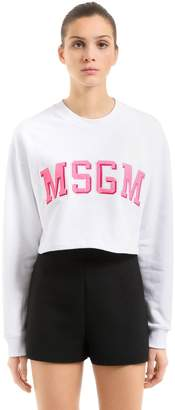 MSGM Cropped Logo Patches Cotton Sweatshirt