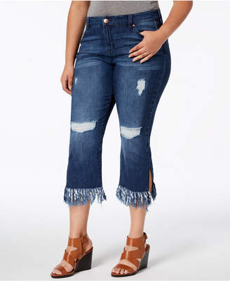 Celebrity Pink Plus Size Destructed Raw-Hem Cropped Jeans
