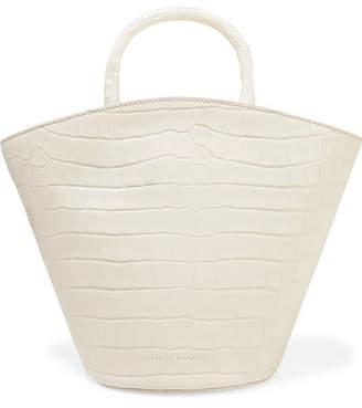 Loeffler Randall Agnes Fan Croc-effect Leather Tote - Off-white