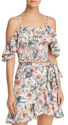 J.o.a. Ruffled Cold-Shoulder Cropped Top