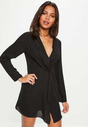 Missguided Black Plunge Twist Front Shift Dress