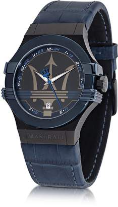 Maserati Potenza Blue Stainless Steel Men's Watch w/Croco Embossed Leather Band