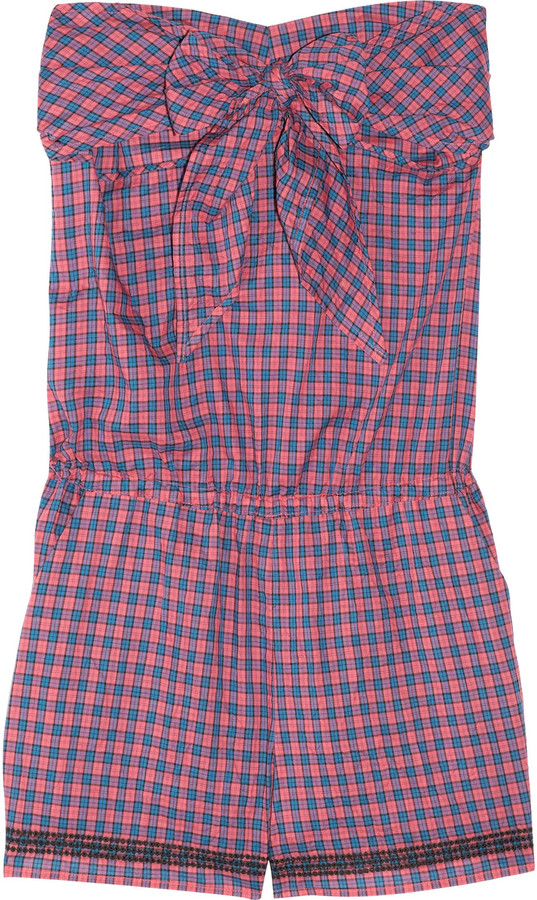 Vanessa Bruno Athé Checked cotton strapless playsuit