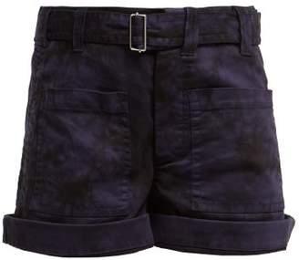 Proenza Schouler Pswl - Hand Bleached Cotton Blend Shorts - Womens - Black Multi