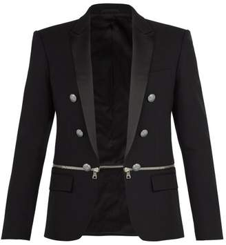 Balmain Zipped Panel Cotton Blazer - Mens - Black