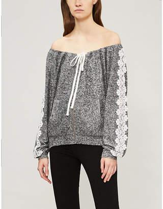 The Kooples Lace-trim fleece sweatshirt