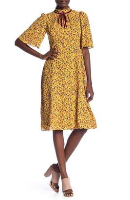 Donna Morgan Floral Print Split Mock Neck Dress