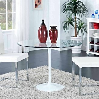 Modway Circuit Round Glass Top and Metal Base Dining Table in Clear