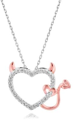 Zales Diamond Accent Devil Heart Pendant in Sterling Silver and 18K Rose Gold