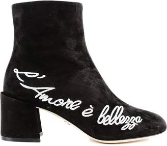 Dolce & Gabbana Embroidered Suede Ankle Boot