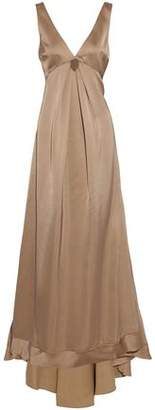 Brunello Cucinelli Pleated Bead-Embellished Silk-Blend Satin Gown