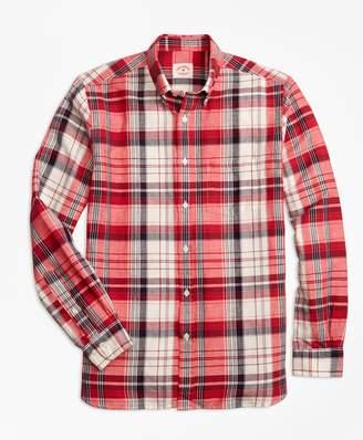 Brooks Brothers Plaid Linen-Cotton Sport Shirt