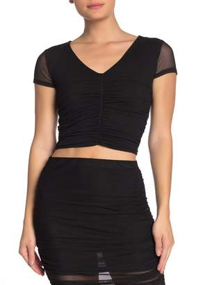 Free Press Ruched Mesh V-Neck Cropped Top