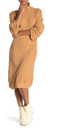 Free Press Ribbed Midi Turtleneck Sweater Dress