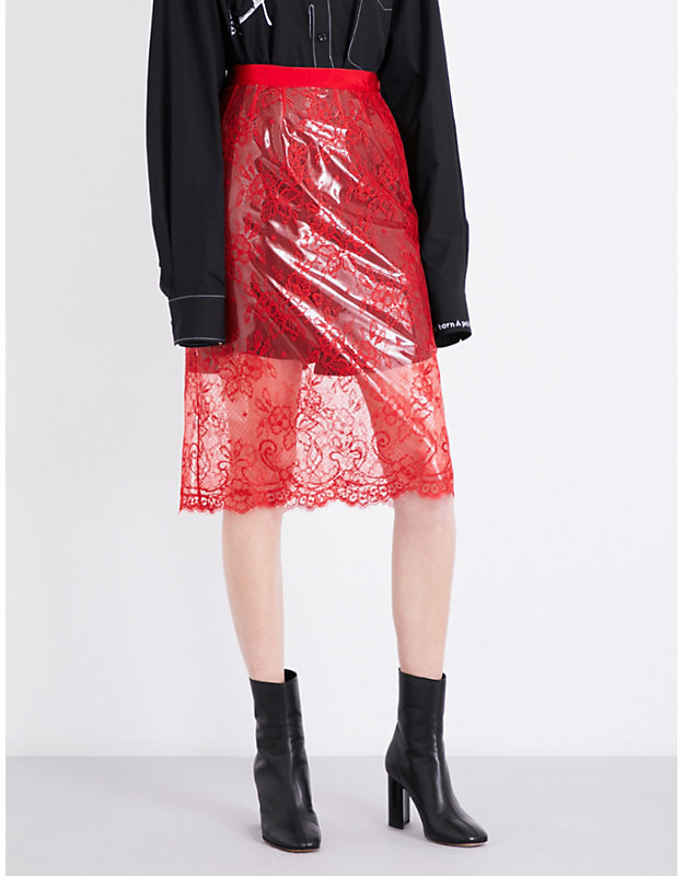 Maison margiela lacquered high rise lace skirt shopstyle for 10 moulmein rise la maison