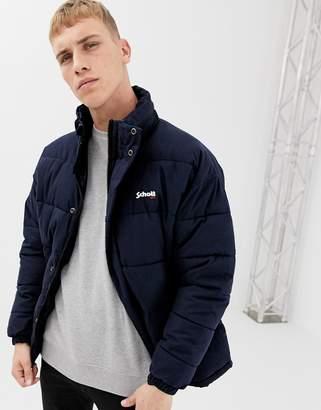 Schott Nebraska puffer jacket with stowaway hood in navy