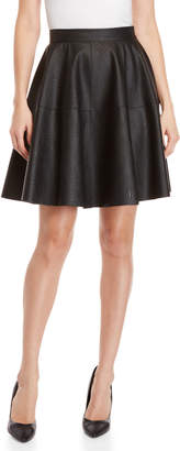 Made In Italy Black Faux Leather Circle Skirt