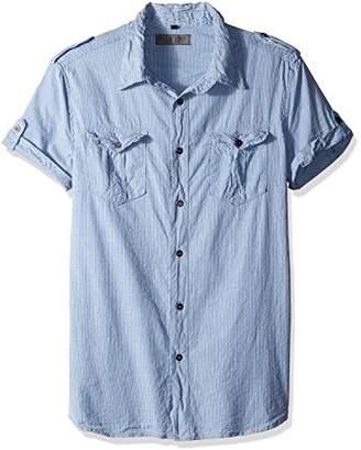 Rogue Men's Short Sleeve Button up Stripe Shirt