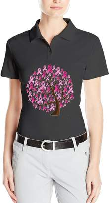 Blzckzx Breast Cancer Awareness Womens Short Sleeve Polo Shirts