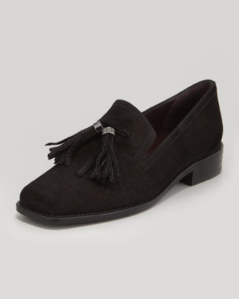 Stuart Weitzman Tassylady Velour Loafer, Black