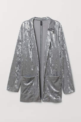 H&M Crushed-velvet Jacket - Gray