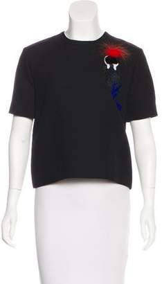 Fendi Mink-Trimmed Embroidered Top w/ Tags