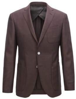 BOSS Hugo Extra-slim-fit virgin-wool jacket micro pattern 38R Dark Purple