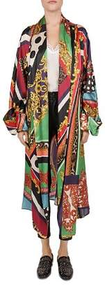 The Kooples Baroque Pattern-Block Silk Kimono