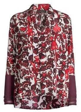 Donna Karan Printed Silk Blouse