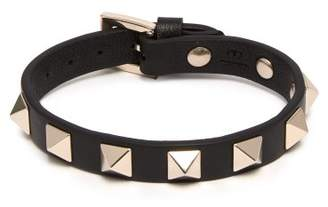 Valentino Rockstud Embellished Leather Bracelet - Womens - Black