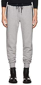 Theory Men's Hybrid Contrast-Trimmed Cotton Fleece Sweatpants - Light Gray
