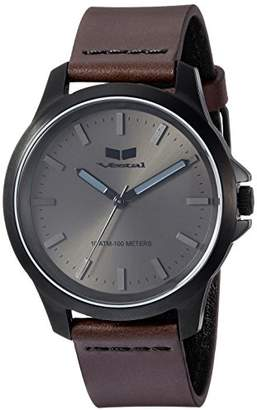 Vestal Quartz Stainless Steel and Leather Casual Watch