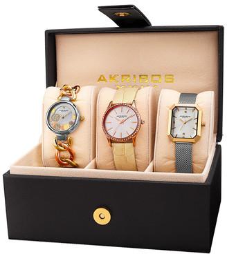 Akribos XXIV Women's Set Of 3 Diamond Watches