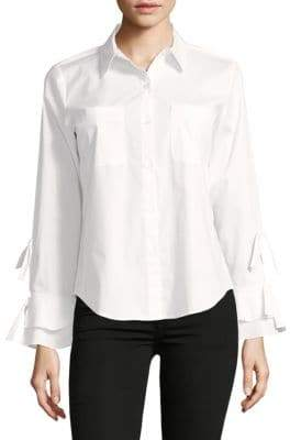 Calvin Klein Ruffled Tie-Sleeve Button-Down Shirt