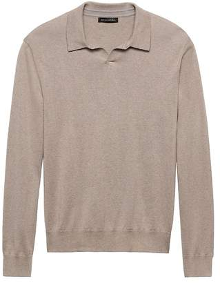 Banana Republic Silk-Cotton Cashmere Sweater Polo
