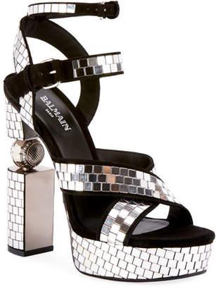 Balmain Jeni Disco-Ball Platform Sandals