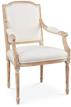 One Kings Lane Louis Armchair - Off-white Linen