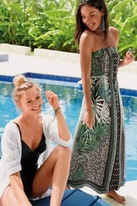 Next Womens Green Palm Print Maxi Dress