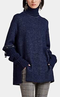 Chloé Women's Button-Sleeve Alpaca-Blend Sweater - Navy
