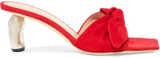 REJINA PYO - Lottie Bow-embellished Suede Mules - Red