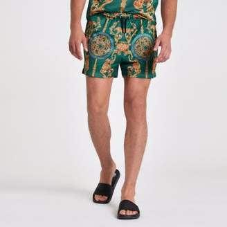 River Island Mens Green mesh baroque print slim fit shorts