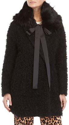 Blugirl Textured Faux Fur Trim Bow Coat