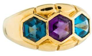 Ring 18K Topaz & Amethyst Cocktail