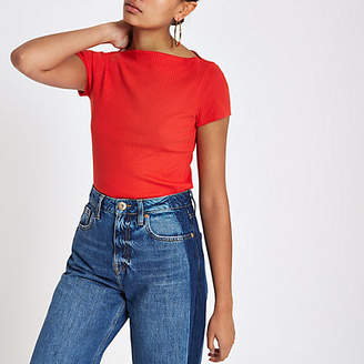 River Island Red ribbed boat neck short sleeve top