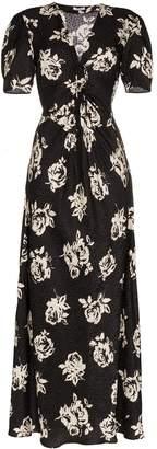 Miu Miu V-neck rose print short sleeve silk dress