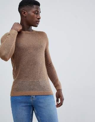 Asos DESIGN knitted wool mix mesh sweater in tan
