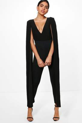 boohoo Kellie Cape Sleeve Plunge Neck Jumpsuit