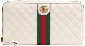Gucci Quilted Leather Zip Around Continental Wallet
